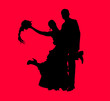 Groom and bride in red background silhouette layered