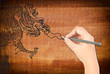 Hand drawing chinese style dragon statue.
