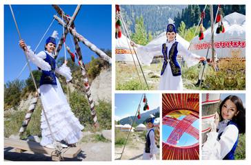 pretty kazakh girl in traditional clothing