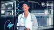 Female Doctor Virtual Medical Studio Environment