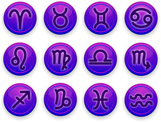 Set of icons. Zodiac signs of lilac color