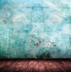 Innenraum mit blauer Wand.