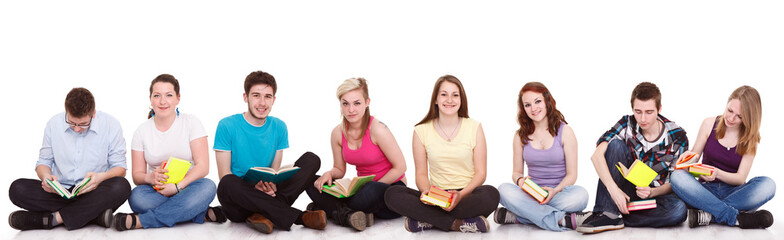 group of students sitting on the floor isolated