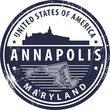 Grunge rubber stamp with name of Maryland, Annapolis, vector