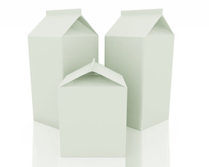 Clear milk package models on white