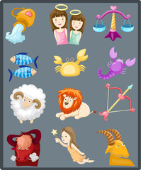 Set of sign zodiacs