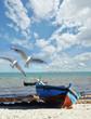 Urlaubs-Erinnerung: Strand mit Fischerboot und Möwen