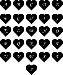 Heart Alphabet Upper