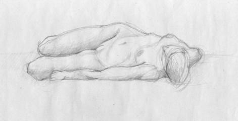 Human lying figure of a naked woman, charcoal sketch