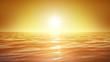 Sea and sun. Sunset. Orange sky. Looped animation. HD 1080.