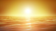 Sea and sun. Sunset. Orange sky. Looped animation. HD 1080.