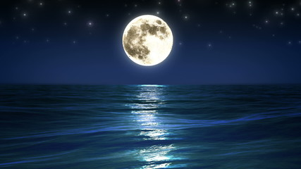 Sea and moon. Night sky. Looped animation. HD 1080.