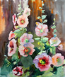 Watercolor painting of the beautiful flowers mallow.