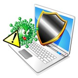 Computer Antivirus-Pericolo-Warning-Virus Cartoon-Vector