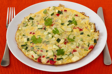 omelet with vegetables on the plate