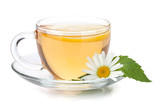 Fototapety Cup of tea with lemon slice, mint leaves and chamomile flower