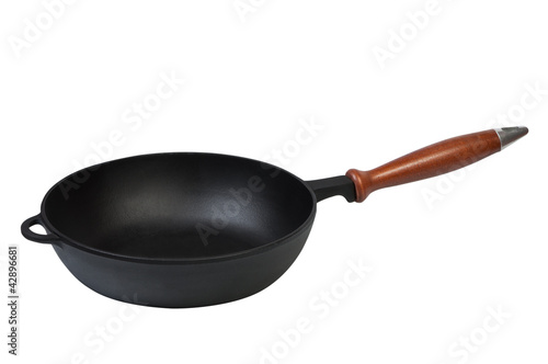 Frying pan on a white background.