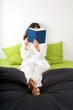 reading on green bed