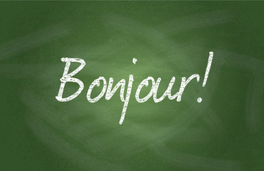 Illustration of greeting in French on chalkboard background
