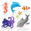 Set of Vector Cartoon Sea Creatures
