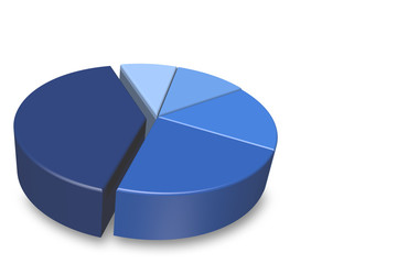 Empty blue 3D pie chart