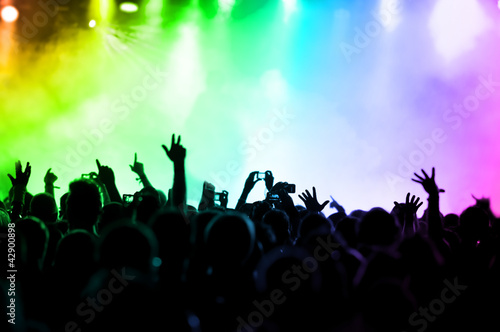 cheering crowd in front of colorful stage lights