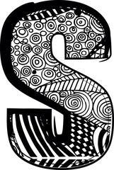 Letter s with abstract drawing. Vector illustration