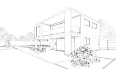 Sketch of modern villa with terrace and garden