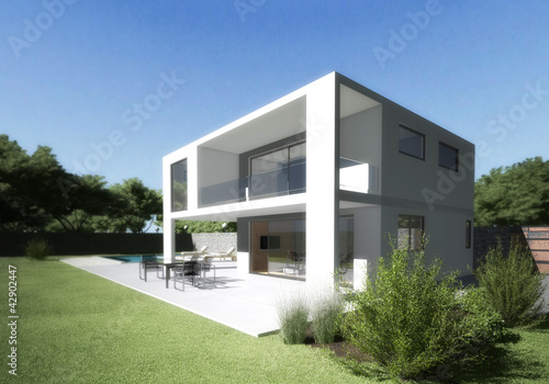 Modern villa with terrace and garden.