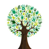 Go green hands collaborative tree poster