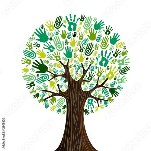 Go green hands collaborative tree