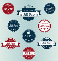 All Pro Player Labels Vector Set