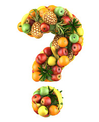 Question mark made from 3d fruits. Isolated on a white.