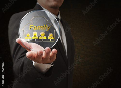 hand shows 3d family pixel icon as concept