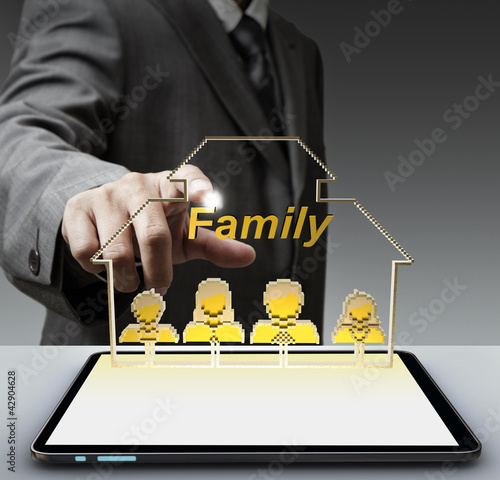 3d family pixel icon and tablet computer as concept