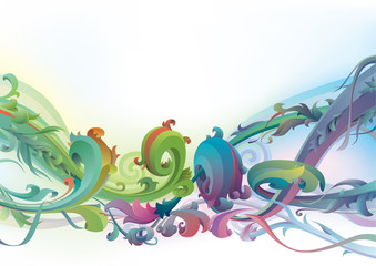 The vector background with floral  motifs.