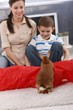 Cute kid and mom playing with rabbit