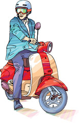 Smiling man in a suit is riding the bright scooter.
