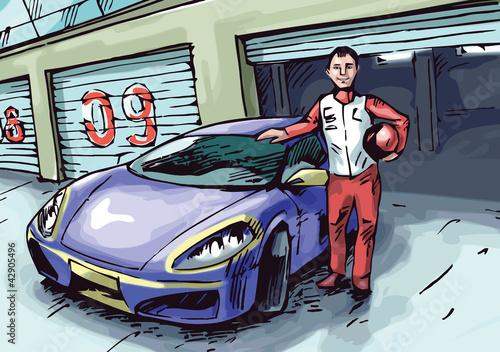 The racer is standing near his blue sport car