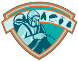 Pest Control Exterminator Worker Shield poster