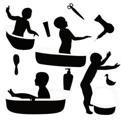 the child subjects for bathing