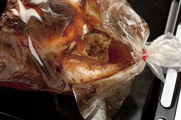 roasted chicken in a bag