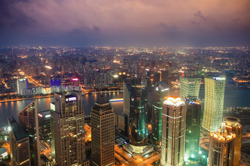 overlooking shanghai at night