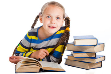surprised girl  reading books on isolated white