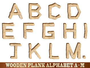 Wooden Plank Alphabet A to M