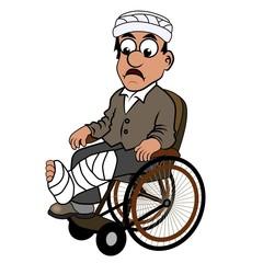 Unfallopfer im Rollstuhl