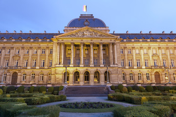 Brussels - The Royal Palace in evening in Belgium.
