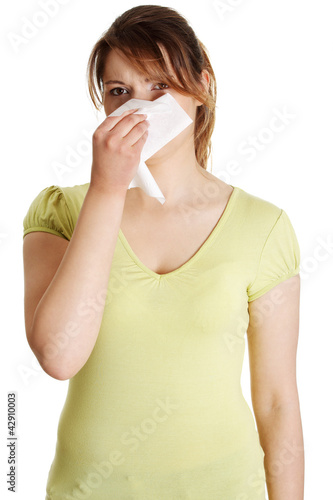 Sneezing Woman having cold or allergy
