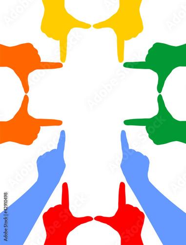 Handsilhouetten formen ein Kreuz