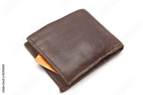Brown wallet and credit card